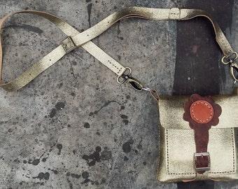 small gold leather handbag, Cross Body Purse, handmade bag, pouch, gadget case