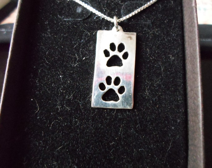 Rectangle two dog paw necklace w/ sterling silver chain