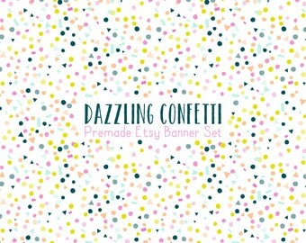 Etsy Cover Photo -  Etsy Banner - Etsy Shop Set -Dazzling Confetti