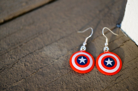 captain america earrings captain america earrings dangle made from capt by 8494