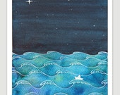 Print waves sailboat starry night nursery art illustration, navy watercolor painting by VApinx