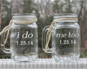 wedding jars, Etched mason jar, Wedding jars, Set of 2, 16oz -  Etched Mugs,  Etched Mason Jar, Etched mugs, personalized