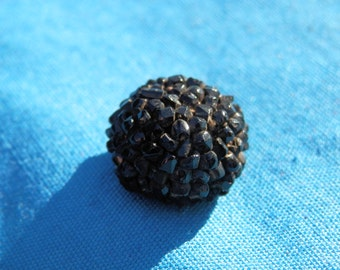 Antique Black Glass  Beaded  Button Thread Back