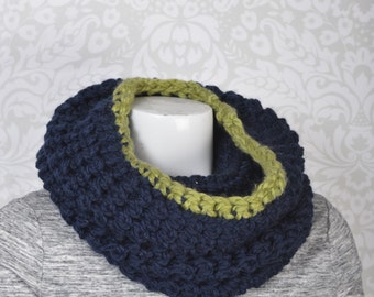 2-Way Cowl Snood blue and lime