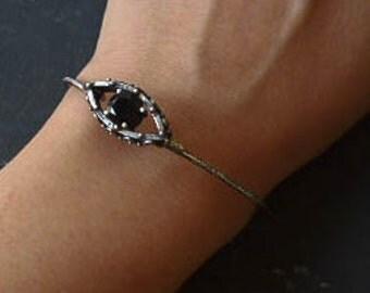 OOAK Evil eye silver bracelet cuff - Spinel - Protection jewelry - Layering bracelet