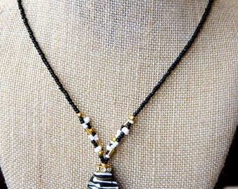 Black, White, and Gold Necklace