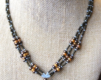 Brown, Blue, and Orange Necklace
