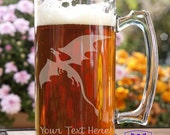 Dragon 2 Customizable Etched Glass Beer Stein Mug Glassware Gift