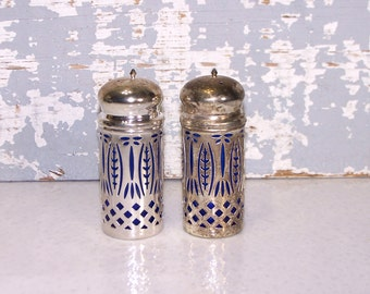 Salt & Pepper Shakers Silverplated Cover Over Cobalt Blue Glass Container Vintage Servingware Wedding Gift