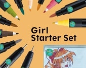Zig Cartoonist Girl Manga Starter Kit, Kurecolor Fine and Brush Markers, two Mangaka pens, and instruction booklet