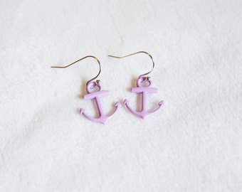 PURPLE anchor earrings. Little dangle earrings.
