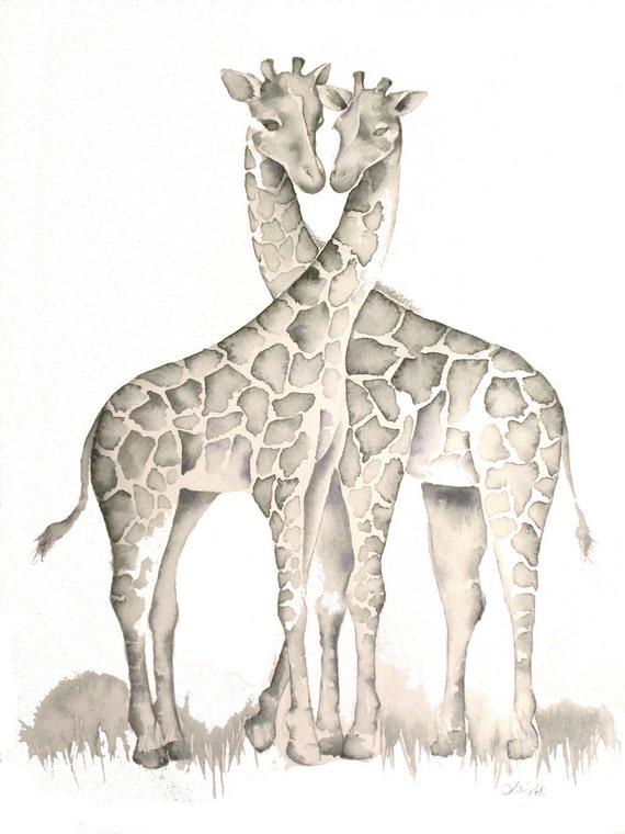 Giraffes in Love Drawing Giraffes in Love Print of