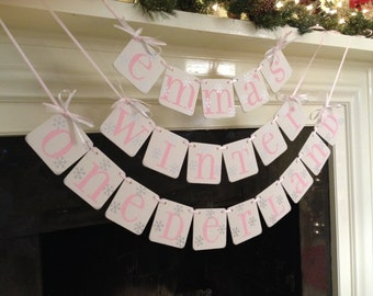 Winter Onederland Birthday Party Banner  I am 1- Onederland Decorations -First Birthday Sign Garland  photo prop - CUSTOM Name Custom Colors