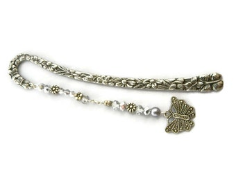 Peaceful Butterfly Jeweled Bronze Floral Bookmark   (JB64)