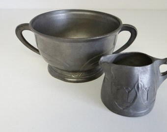 Vintage Pewter Bowl And Jug German Art Nouveau Marked Osiris Isis Circa 1900s