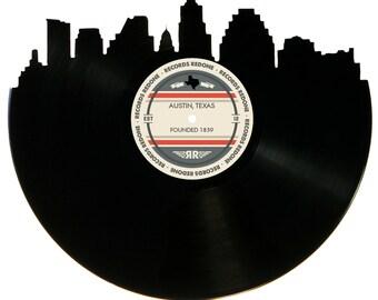 Austin Skyline Records Redone Label Vinyl Record Wall Art - Unique Gift - Birthday Holiday Christmas Wedding