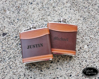 Engraved Flask Personalized Flask - Custom Flask - Leather Flasks - Hip Flask - Gift for Him, Groomsmen, Bachelors, Fathers Day - F45.FSK128