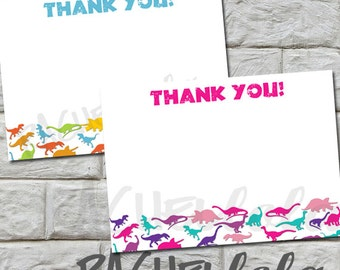 INSTANT DOWNLOAD - Dinosaur, Thank You notes,  4x6, or 5x7, pink and blue