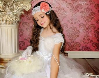 Coral Flower Headband, White Lace Headband, Flower Girl Headband, Pearl Lace Headband, Photo Prop, Bridesmaid Headband, Coral Wedding Hair