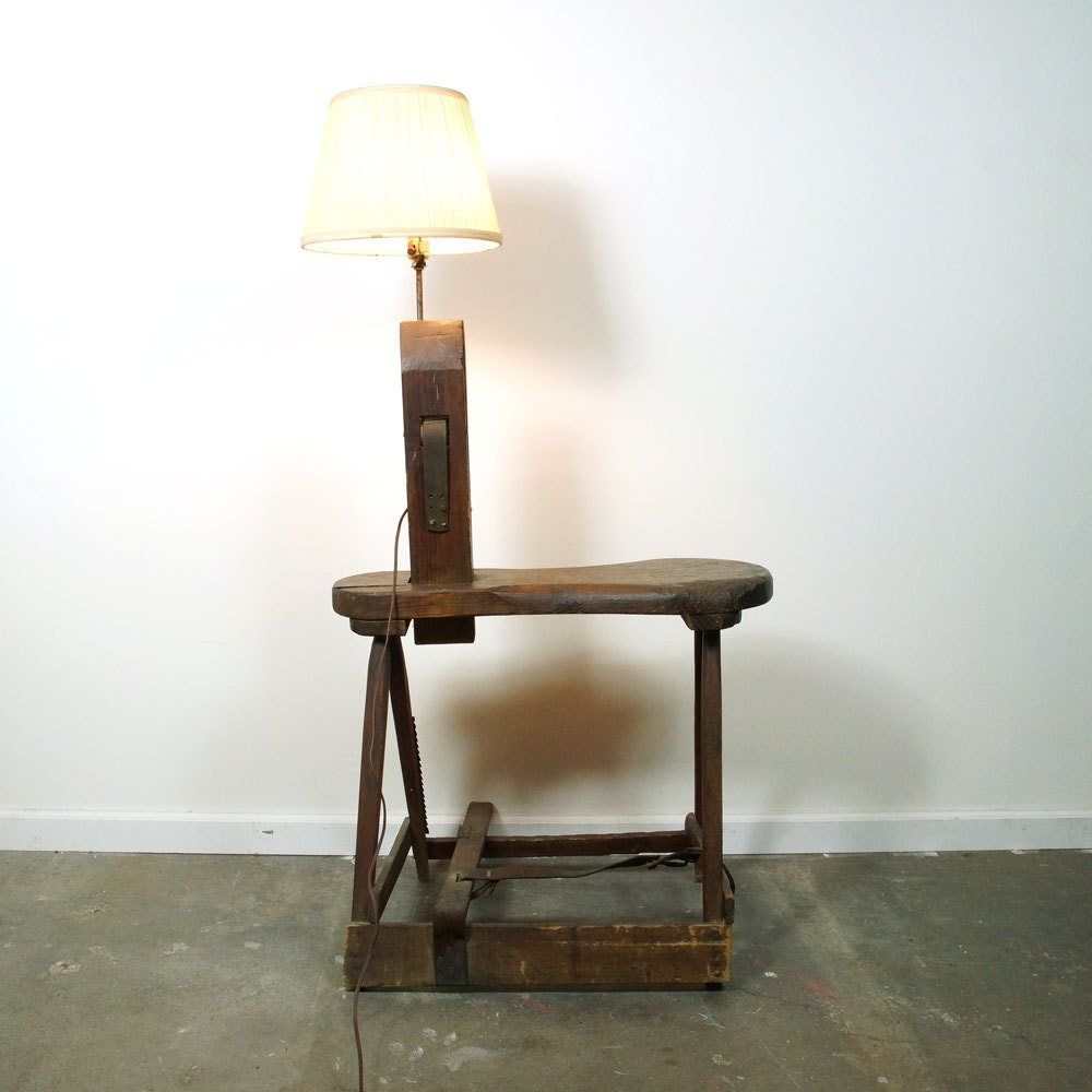 Workbench Lights Vintage: Antique Cobbler's Bench Lamp / Repurposed Primitive By