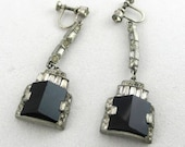 Art Deco Jewelry: Vintage Black and White Motif Pendant Screwback Earrings