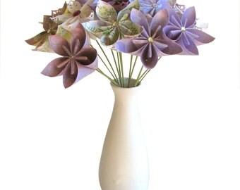 Purple Bouquet, Purple Origami Bouquet, Paper flower bouquet