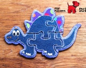Dinosaur 5 piece Jigsaw Puzzle Easy Hand Sewing PDF Toy Pattern Felt Soft Animal Toy