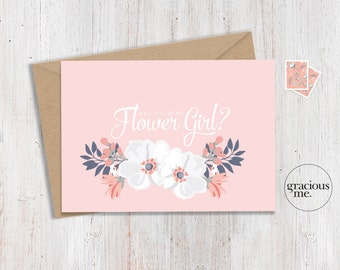 Flower Girl Card 'Will You Be My Flower Girl' - Wedding Card, Floral Card - Pink