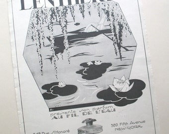 Lentheric vintage perfume ad 1926, Au Fil De L'Eau, French advert picture, Art Nouveau illustration, 1920s advertising, home decor artwork