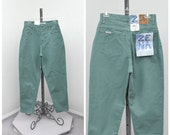 Vintage 90s Zena Mint Green Pants, High Waisted Jeans, Sage Green Pants, High Rise Jeans, Mom Jeans, High Rise Jeans, Size M