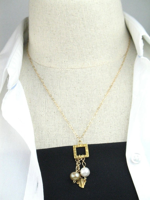 Pendant Necklace in Gold with Pearl and Leaf Charms / June Birthstone / Semiprecious Jewelry