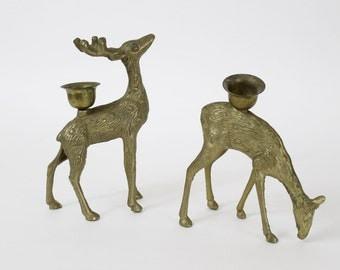 Vintage Brass Deer Candleholders / Holiday Decor Reindeer Pair