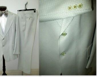 1970's Green Plaid Suit , American Hustle suit,  Mis Century Suit, Mad Men Suit,  Plaid jacket & pants suit, Anchorman, Ron Burgundy suit