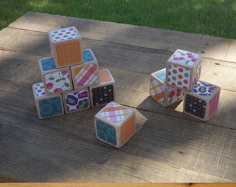 10 Baby Girl Decorative Wood Blocks Set 1.5 inch (Maple) by Spud Woodworks