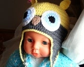 Crochet Owl Hat for baby, yellow grey boy & girl earflap hat for winter
