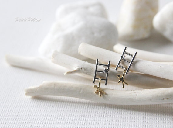 Climbing the Ladder Earrings in Silver and Gold. Post Earrings. Earrings Studs. Whimsical and Fun. Cool and Cute. Unisex  (PPER-89)