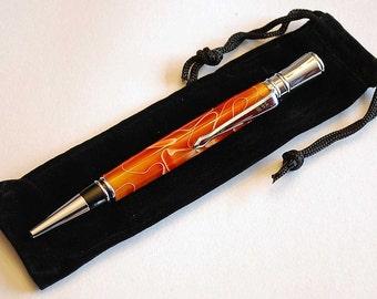Twist Pen, Handturned Orange arcylic in Chrome, Executive style twist pen