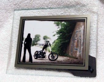 Framed 5x7 inch photo of a silhouette of biker chick with Harley-Davidson chopper