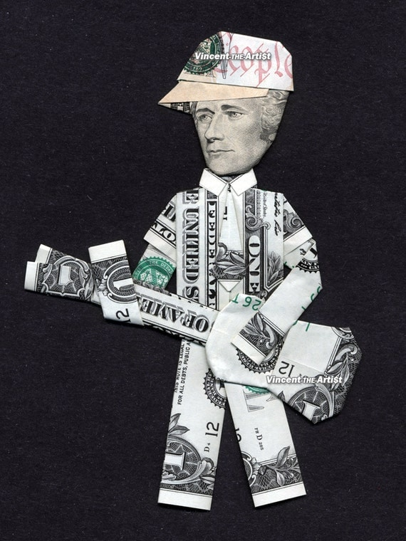 ALEXANDER HAMILTON w/Baseball Cap playing Guitar Dollar Origami - Money President Gift