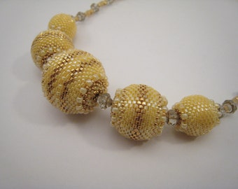 Butterscotch Beaded Beads Necklace, Yellow Glass Beads, Gold and Yellow Beadwoven Necklace, Beadwork Balls Chain, Yellow Jewelry, Bead Balls