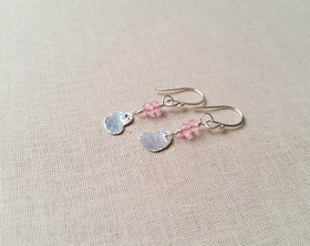 Sweetheart Earrings - Hammered Sterling Silver Heart Drops with Light Pink Topaz Faceted Rondelles Dainty Feminine Valentine's Day Gift