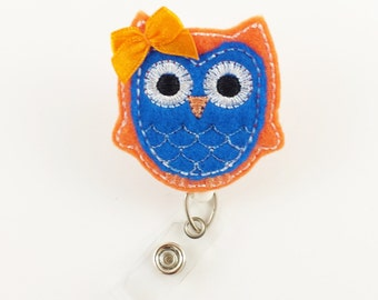 Owl - Felt Badge Reel- Nurse Badge Holder - RN Badge Reel - Retractable ID Badge - Name Badge Clip - Cute Badge Reels - Peds - Nurse Gifts