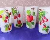 Four Gay Fad Satin Glass Tumblers Featuring Fruit
