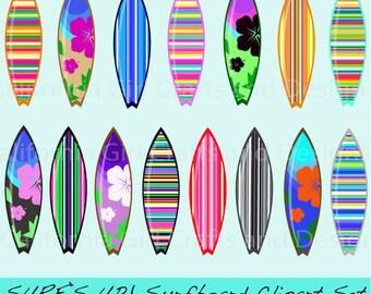 Surf's Up! Surfboard Clipart Set - Instant Digital Download