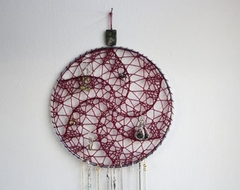Marsala Wall Hanging Earring Holder / Jewelry Organizer / Dreamcatcher