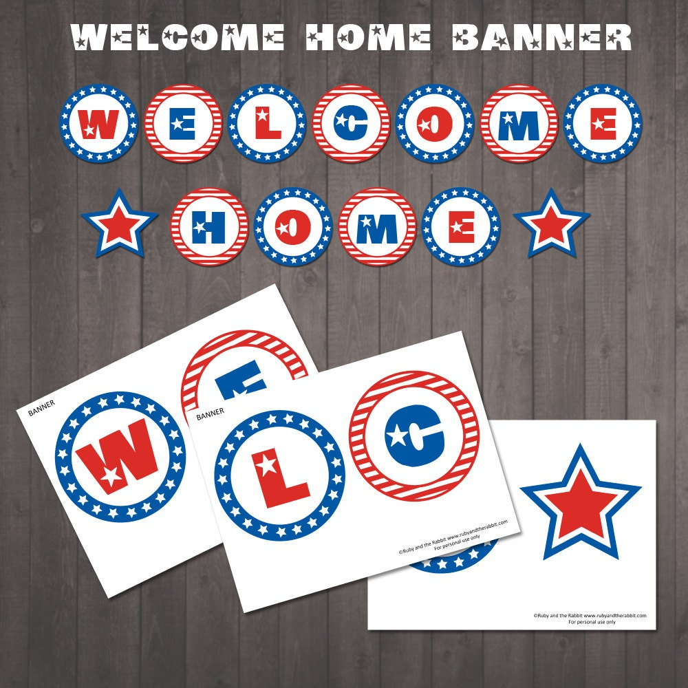 INSTANT DOWNLOAD Printable Welcome Home Banner Red White