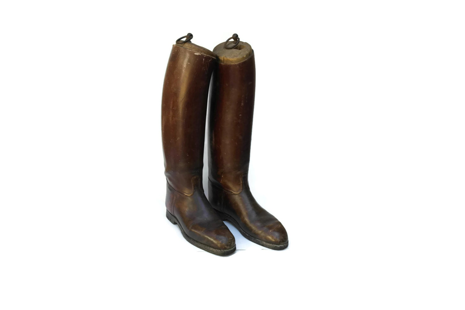 antique leather boots with wooden shoe trees mens
