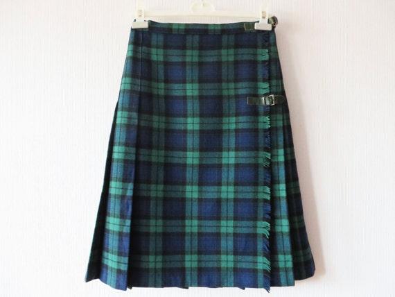 tartan plaid skirt green blue wool scottish kilt wrap skirt