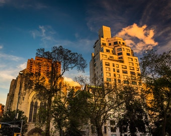 Evening light on old buildings in Upper East Side, Manhattan, New York. - Urban Photography Fine Art Print or Wrapped Canvas