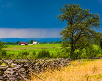 Storm clouds over tree and fields at Gettysburg, Pennsylvania - Photography Fine Art Print or Wrapped Canvas